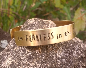 be FEARLESS in the pursuit of what sets your SOUL on FIRE // skinny handstamped cuff bracelet / custom cuff / personalized jewelry