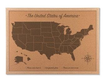 Corkboard Map Etsy - Corkboard us map