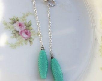 Long Turquoise Blue Chain Dangle Clip On Earrings / Shoulder Duster Silver Drop Clip Earring / Boho Bohemian Clipon