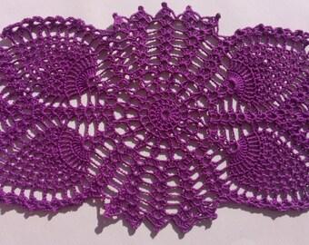 "Oval crochet doily, new hand crocheted doilies, purple doily, lace doily, 13 "" X 7 """