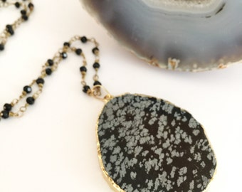 Snowflake Obsidian Glass Beaded Necklace