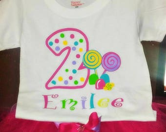 Candy birthday theme tutu outfit, Candy Land outfit, 3pc tutu birthday outfit