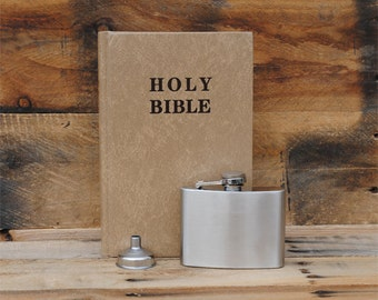 Hollow Book Safe & Secret Flask - Marble Gold Holy Bible - 4 Ounce