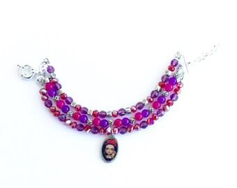 Frida Kahlo bracelet, purple multi strand beaded bracelet