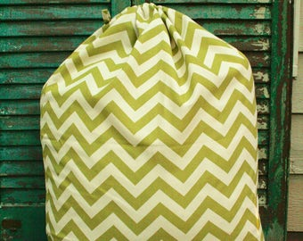Sage Green Chevron Laundry Bag