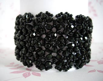 Black lace bracelet, Black bracelet, Beaded bracelet, Beadwork bracelet, Jet black firepolish, Firepolish bracelet, Seed bead bracelet