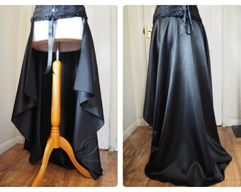 Long Black Trailing Overskirt - Cosplay Victorian Steampunk Goth Burlesque Stage Skirt Overskirt Train Trail