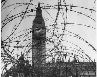WWII, Europe, London, England, Big Ben with barbed wire entanglement