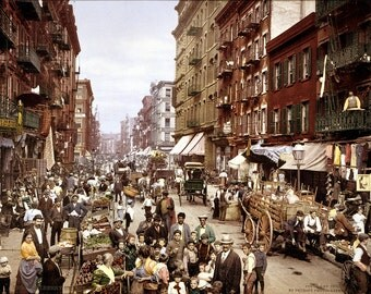 Mulberry Street, on the Lower East Side, circa 1900, New York City, Color Print