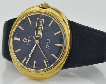 42 mm Omega DeVille Dynamic Very Swiss Automatic Day Date Marble Blue Dial Vintage Men's Wrist Watch