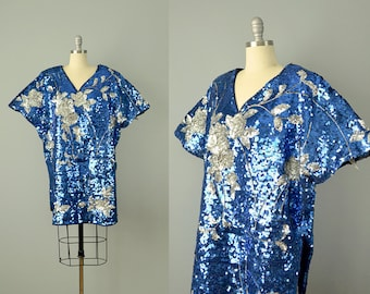 80s Dress // 1980s Mini Dress/Tunic in Blue and Silver Metallic Sequins // L-XL