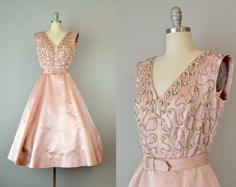 50s Dress // 1950's Charles Cooper Soft Pink Silk Satin Dress w/ Pearled & Beaded Bodice // M