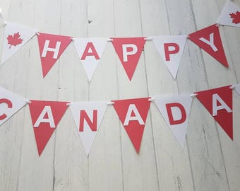 Canada Day Banner-Happy Canada Day-Red and White-Maple Leaves