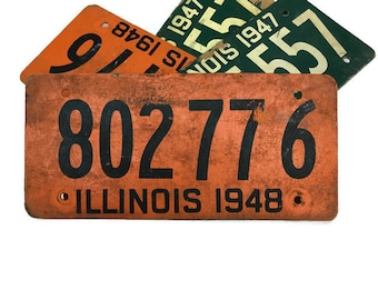 Old license plate Illinois 1948 soy fiberboard car tag 80277 6