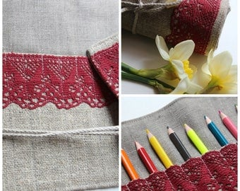 Linen Pencil Roll - Roll Up Pencil Case - Pencil Organizer - Pencil Wrap (with Red Linen Lace) with a rope to tie up (for 24 Pencils)