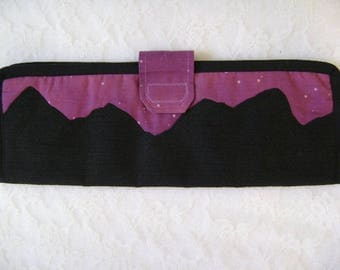 Mountain Silhouette Flat Iron Holder, Travel Case, Curling Iron Bag, Gift For Her
