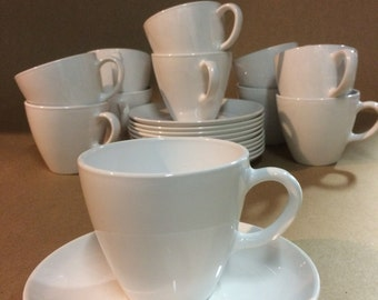 Vintage Mid Century Corning Centura Tall Cups and Saucers White Coupe; Set of 11