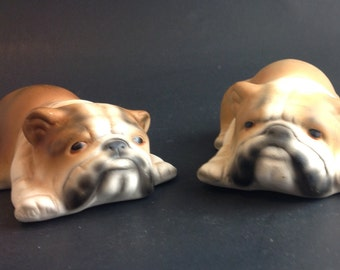 Vintage English Bull Dog Figurine Set of 2 Bull Dog Canine Decor Doggo Puppers Bulldog Tan and White