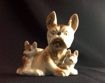 Adorable French Mother Bulldog and Her 2 Puppies Vintage Canine Figurine Collectible Bull Dog Doggo Puppers Rare Breeds AKC Purebred
