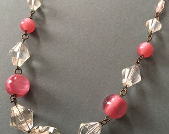 Art Deco Glass Crystal Facet Necklace Pink & Clear Beads
