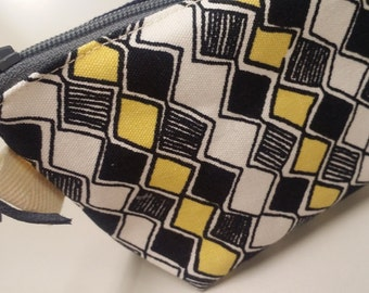 Clearance Sale. Geometric pattern  coin purse, cosmetic pouch, boxy mini wallet.  small cosmetic bag