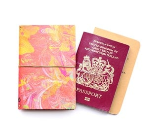 Coral Pink Passport Holder in Leather, Multi Traveler's Notebook, Cards UK Made