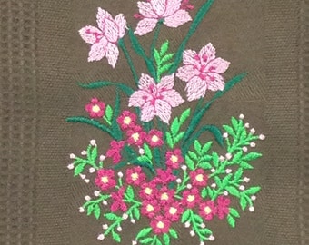 Pink Flowers Embroidered Bamboo Hand Towel - Brown