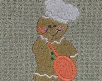Baking Gingerbread Man with Spoon  - Microfiber Hand Towel - Green Mist