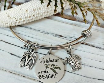 Life is Better at the Beach Bangle Bracelet - Sea Turtle, Cruise, Flip Flops, Honeymoon, Beach Vacation Jewelry
