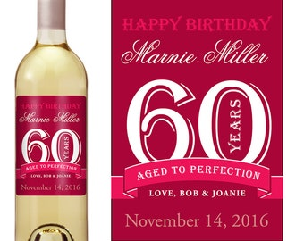 60th Birthday Wine Label - Personalized Wine Label - Custom Wine Label - Milestone Birthday