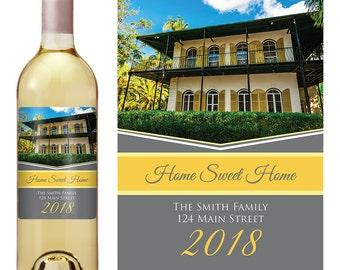 Housewarming Gift  - New Home Housewarming - Personalized Housewarming Gift - New Home Wine Labels - Housewarming Gift Basket