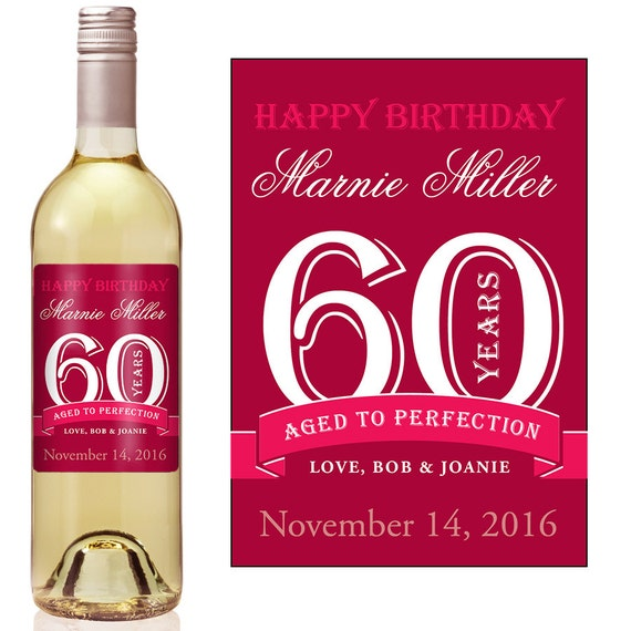 60th birthday wine label personalized wine label custom wine