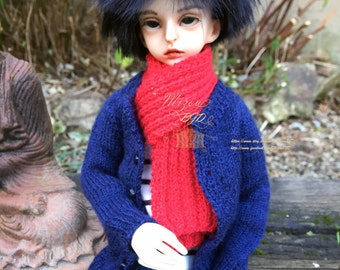 BJD cardigan for MSD Boy or Girl, Unoa, Minifee, hand knitted in wool, silk and alpaca