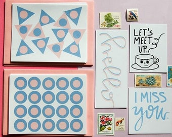 snail mail kit stationery kit hand lettered notes tea thoughts vintage stamps letter writing kit greeting cards handmade