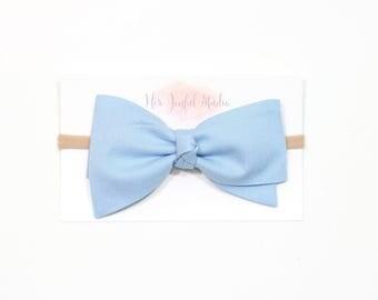 Blue Baby Headband - Bow Headband - Blue Bow Headband - Infant Headband - Newborn Headband - Baby Bow - Girls Headband - CORNFLOWER