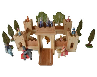 Fairy Tale Fortress Castle Set-Ultimate Castle Play Set-Includes Wooden Knights-Wooden Trees-Horses-Royal Figures-King-Queen