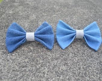 Denim hair bow, hair elastic, hair clip, hair barrette, barrette, girl hair bow