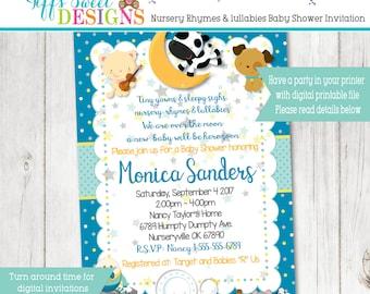 Boys Nursery Rhymes Baby Shower Invitation  - Lullabies Baby Shower Invitation