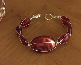 Wire wrapped red bracelet