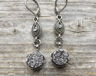 Sparkly Silver Druzy Earrings With Gunmetal Lever Backs