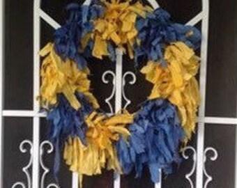 Hand dyed Muslin Rag Wreath