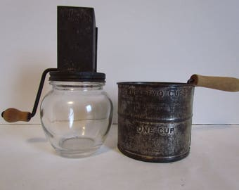 Vintage Flour Sifter And Nut Grinder Rusty Roached Metal Kitchen Gadgets Tools Utensils Items Sieve Decor