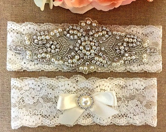 Wedding Lace Garter Set - Rhinestone Garter - Pearl Garter - Toss Garter - Bridal Garter - Wedding Garter Belt - Keepsake Garter
