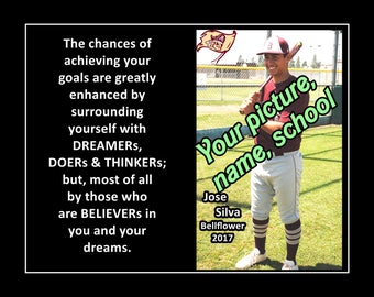 """Personalized Custom Poster Son Baseball Poster Daughter Softball Wall Art Print Surround Yourself 8x10"""", 11x14"""", 16x20"""""""