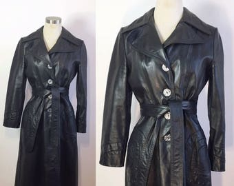 Vintage Black Leather Trench Coat / Black Leather Trench / 1970s Leather Trench Coat / Belted Leather Trench / Super 70s Coat Small