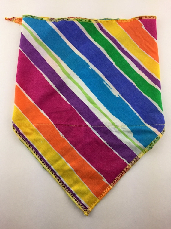 Rainbow Super Stripes: Cotton Stash Pocket Bandana w/ Full Rainbow Diagonal Stripe Print