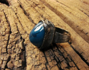 Unique Blue Agate natural stone adjustable statement ring Stained Glass tiffany technique ideal gift by GepArtJewellery.FREE SHIPPING!