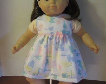 Delicate baby pink, blue and yellow dress for Bitty Baby or twin doll