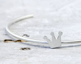 Bracelets made of 925 silver, brace open at the bottom, fairytale silver jewelry crown
