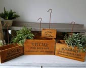Herb Garden Inspirational Nesting Hanging Boxes Set of 4 Thyme, Sage, Rosemary, Parsley